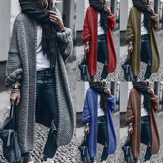 Chunky Knit Long Cardigan (Plus Sizes Available)