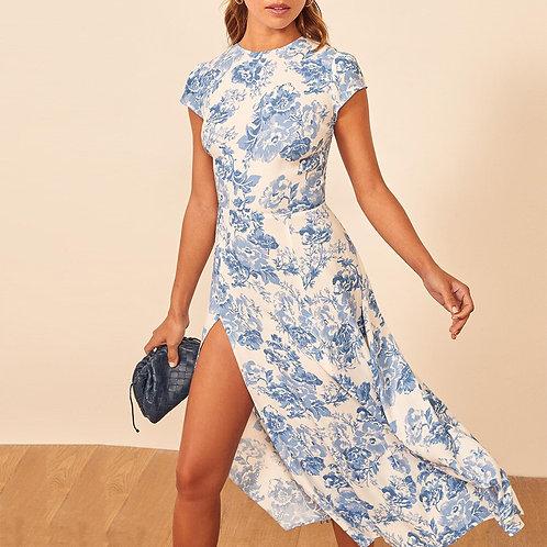 Short Sleeve Floral Print Backless Midi Dress