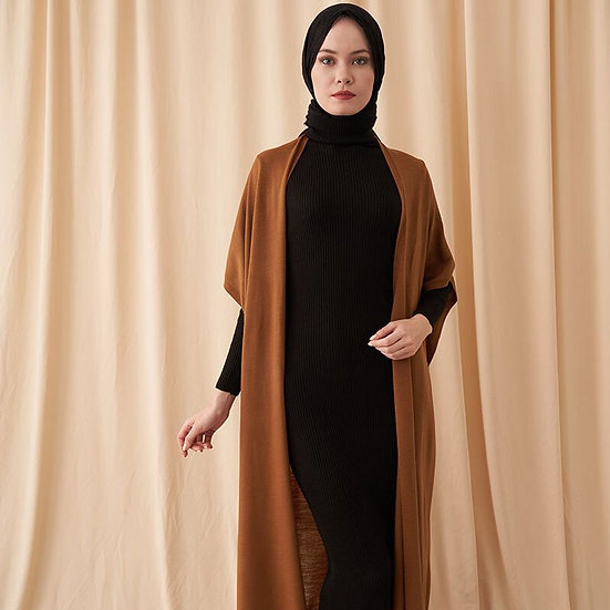 2 Pieces Knitted Turtle Neck long sleeve dress and Cardigan