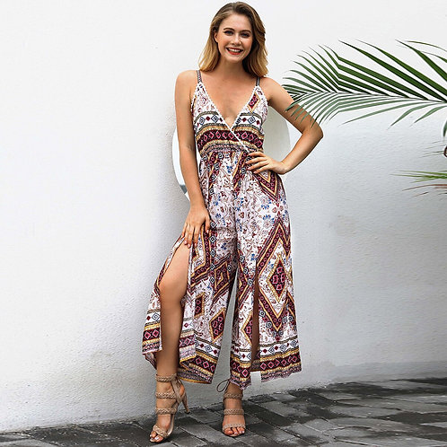 V-Neck Retro Print Wide Leg Jumpsuit