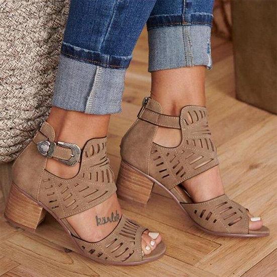 Mid Heel Open Toe Shoes
