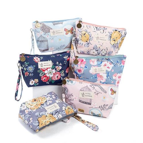 Vintage Floral Printed Cosmetic Bag