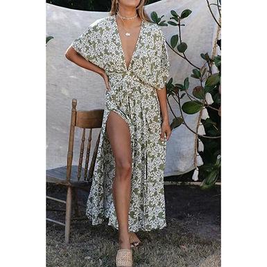 Floral Print Bat Sleeve Kimono Maxi Dress