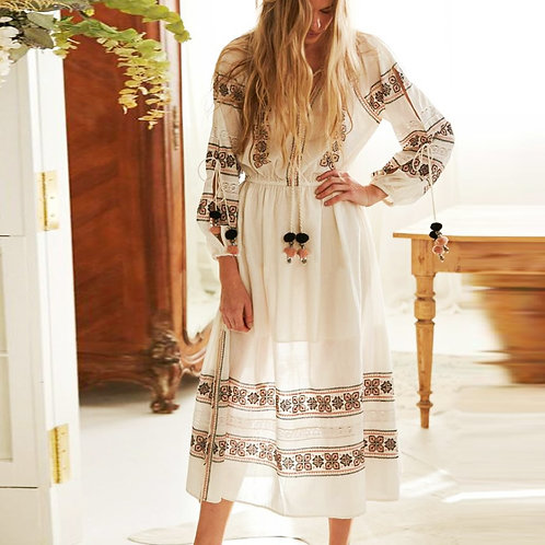 Lantern Long Sleeve Lace Embroidered Maxi Dress