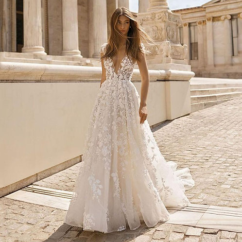 Floral Applique Lace v Neck Backless Boho Wedding Gown