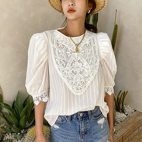 White Puff Sleeve Lace Blouse