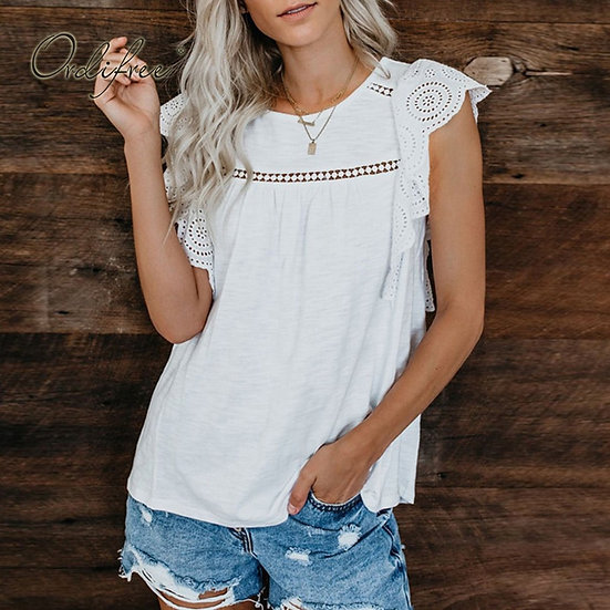 White Lace Crochet Tee