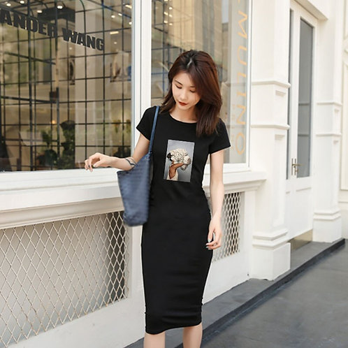 Short Sleeve Graphic Tee Pencil Dress