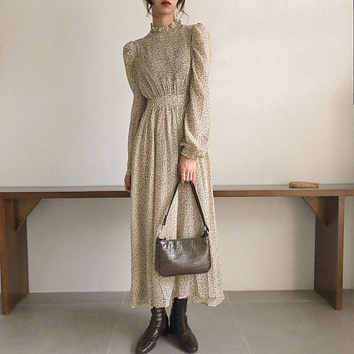 Vintage Ruched Sleeve A-Line Dress