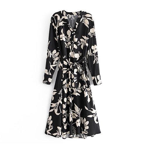 Black & White Floral Long Sleeve Midi Dress