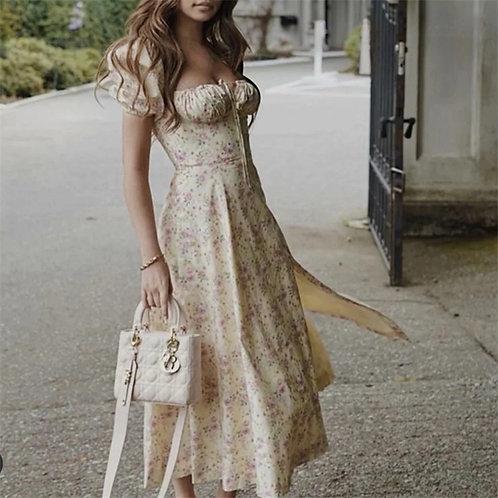 Puff Sleeve Retro Floral Maxi Dress