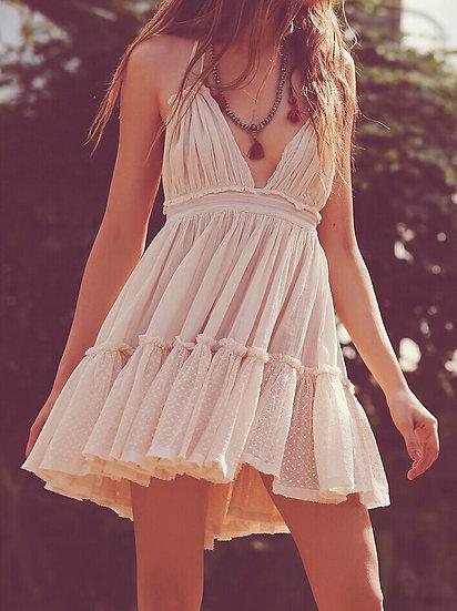 Backless Halter Mini Ruffle Dress