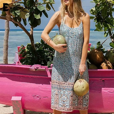 Floral Print Midi Slip Dress