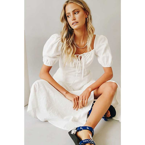 White Puff Sleeve Maxi Dress