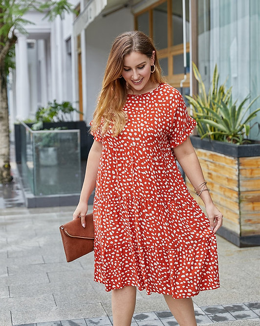 Plus Size Orange spotted Mini Dress