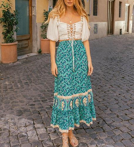 Blue Bohemian Floral Maxi  A-Line Skirt