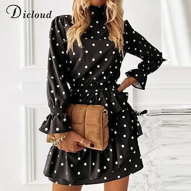 High Neck Polka Dot Long Sleeve Ruffle Mini Dress