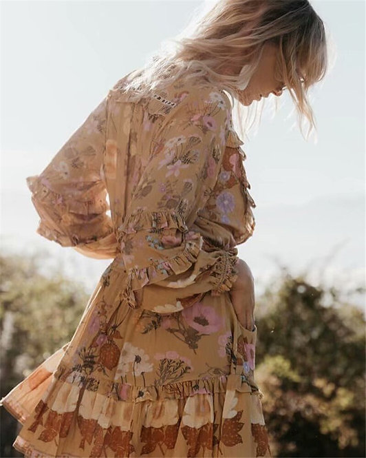 Floral Long Sleeve Ruffles Mini Dress