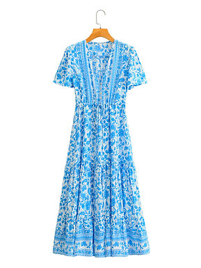 Blue Vintage Floral Print Maxi Dress