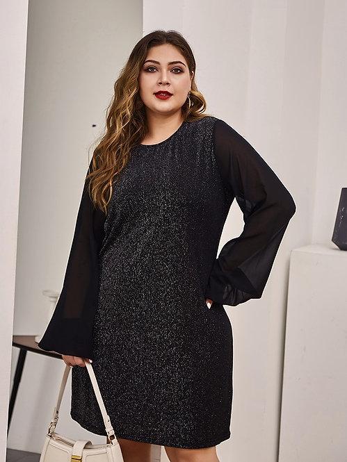 Plus Size Black Chiffon Sleeve A-Line Dress
