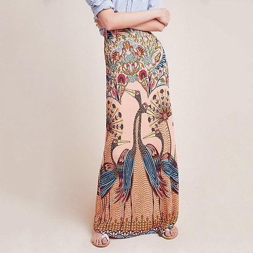 Peacock Straight Maxi Skirt