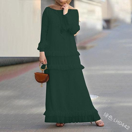 Loose Empire Ruffles Long Sleeve Round Neck Floor-Length Dress