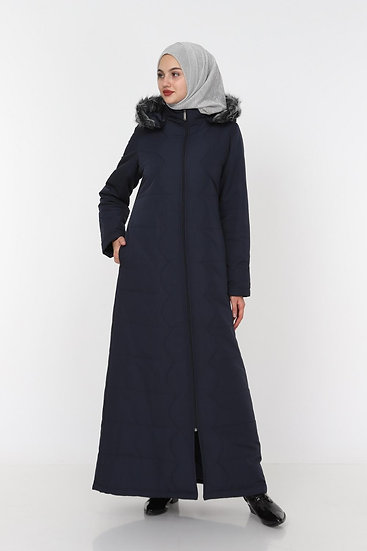 Long Winter Quilted Coat With Removable Hood