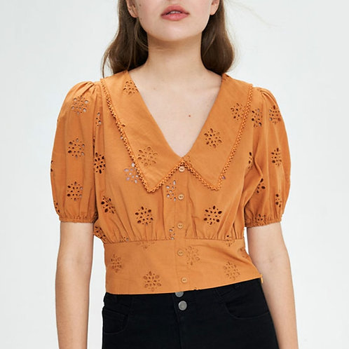Orange Embroidered Puff Short Sleeve Top