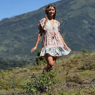 Floral Short Dress Flare Sleeve Ruffles
