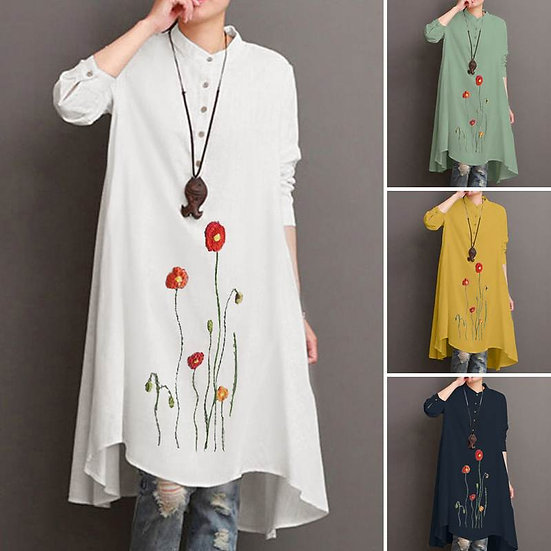 Loose Embroidered Floral Long Top (Plus sizes available)