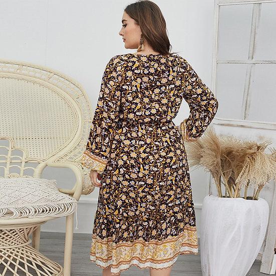 Plus Size Vintage Floral Printed Midi Dress