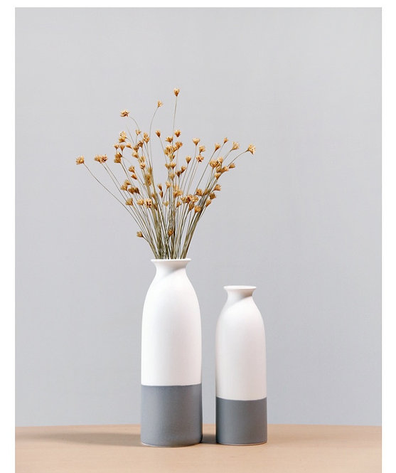 Janpanese Style Ceramic Vase White & Grey
