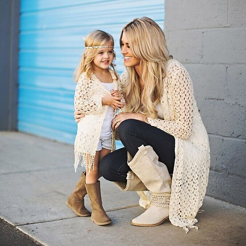 Mother and Daughter Crochet Cardigan