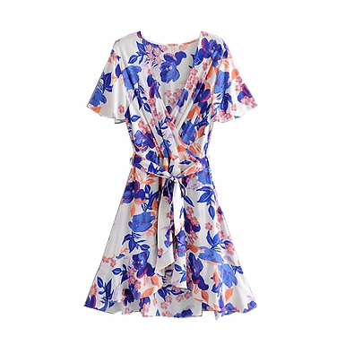 Floral Print  Cross V-Neck Mini Dress