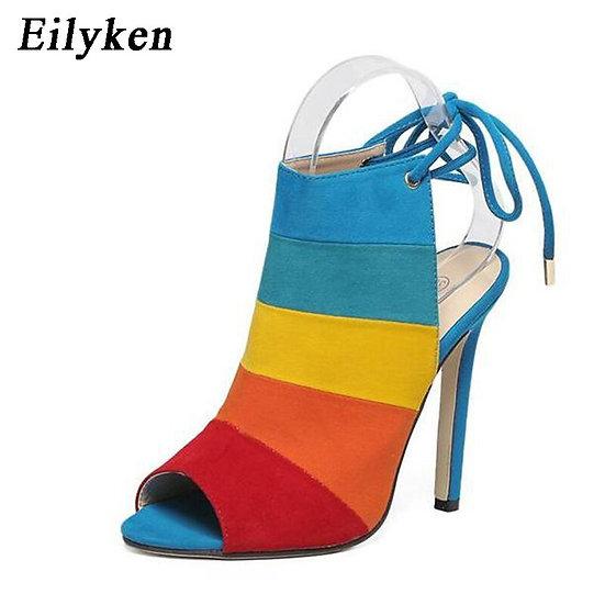 Rainbow Stripe Lace Up Heels