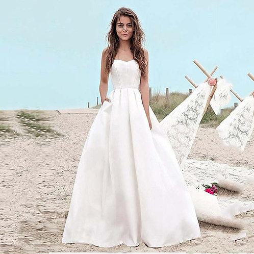 Satin a Line Wedding Dresses With Pockets