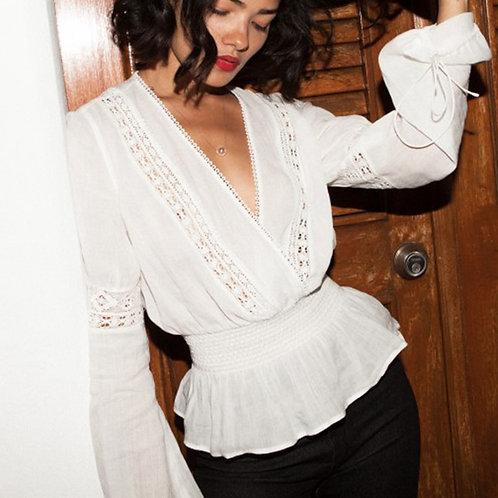 White Lace Blouse Vintage Long Sleeve Boho Deep v Neck