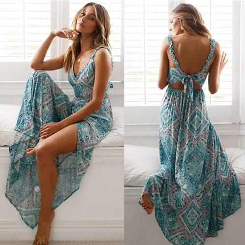 Bohemian Floral Print Tie Back Maxi Dress