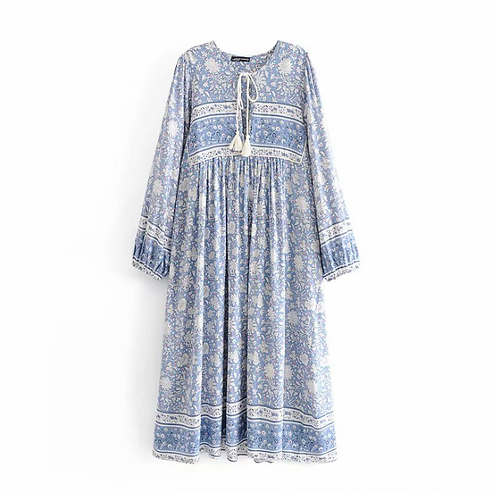 Long Sleeve Lace-Up Floral Midi Dress