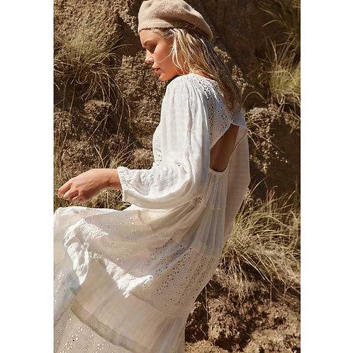 Cotton Eyelet Long Sleeve Maxi Dress