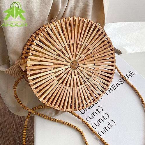 Bamboo Round Handbag