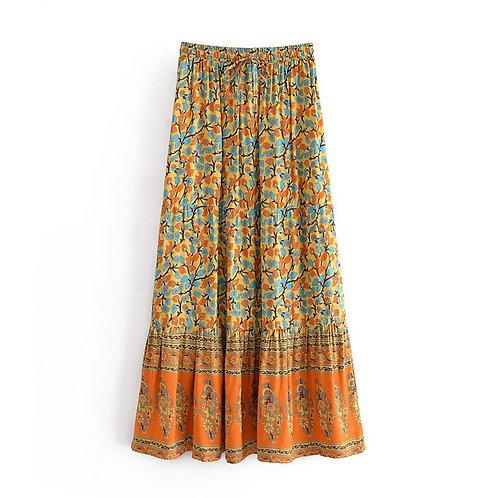 Yellow Floral Print Elastic Waist  A-Line Maxi Skirt