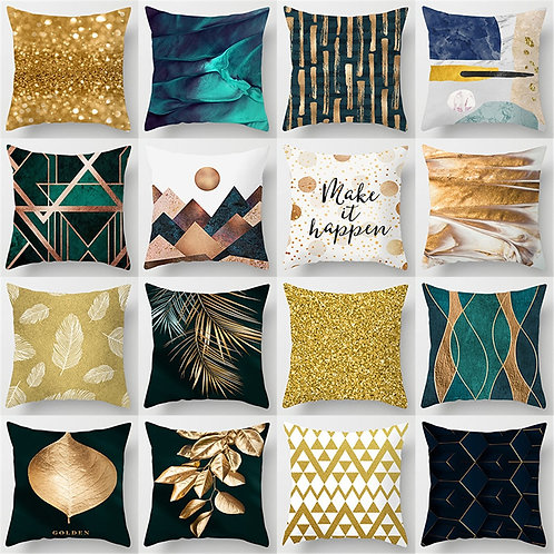 Golden Abstract Cushion Covers 45X45cm