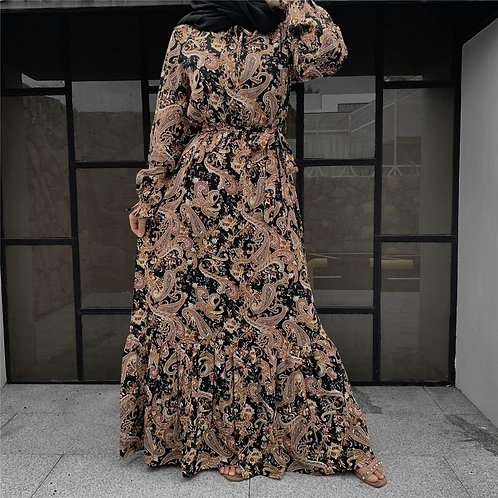 Pleated Print Maxi Dress