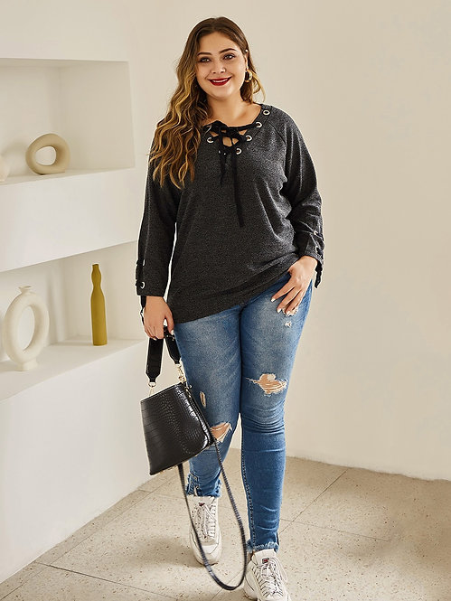 Plus Size Lace Up Knitted Long Sleeve Top