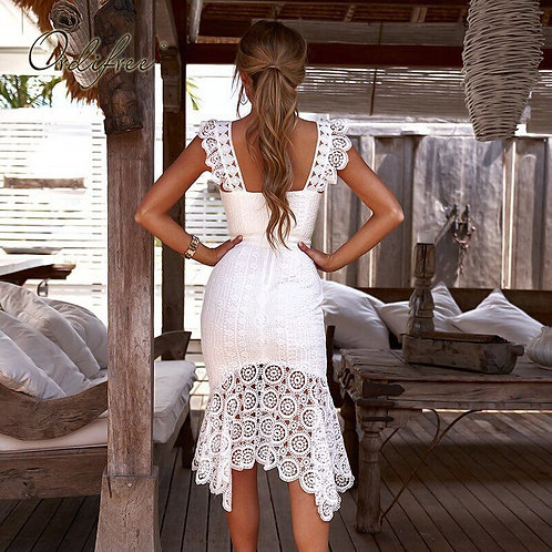 White Lace Bodycon Midi Dress