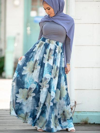 High Waist Flower Print Chiffon Maxi Skirt