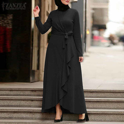 Long Sleeve Asymmetrical Maxi Dress