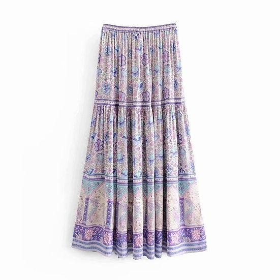 Purple Floral Print Elastic Waist Maxi Skirt