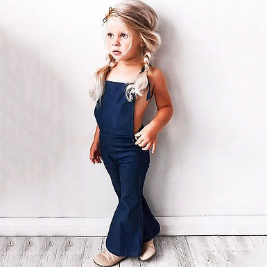 Denim  Backless  Cute Overalls Sizes 1-5 years